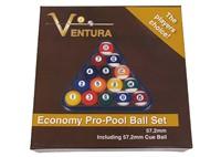 VENTURA ECONOMY AMERICAN POOL BALL SET 57.2MM