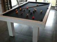 White Crocodile Leather 7′ English Pool Table