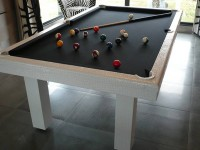 LEATHER 3/4 Snooker Table in White Crocodile Leather